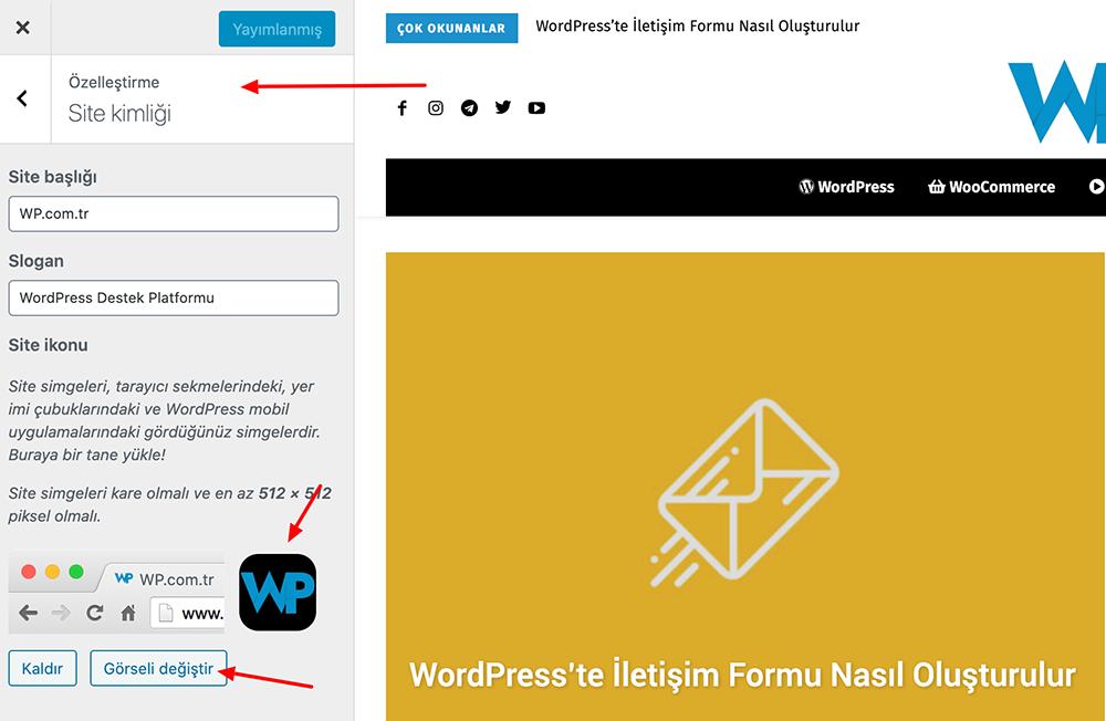 WordPress Özelleştir Kullanarak Favicon Ekleme