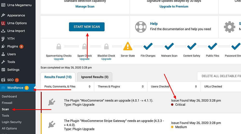 Wordfence Scan WP