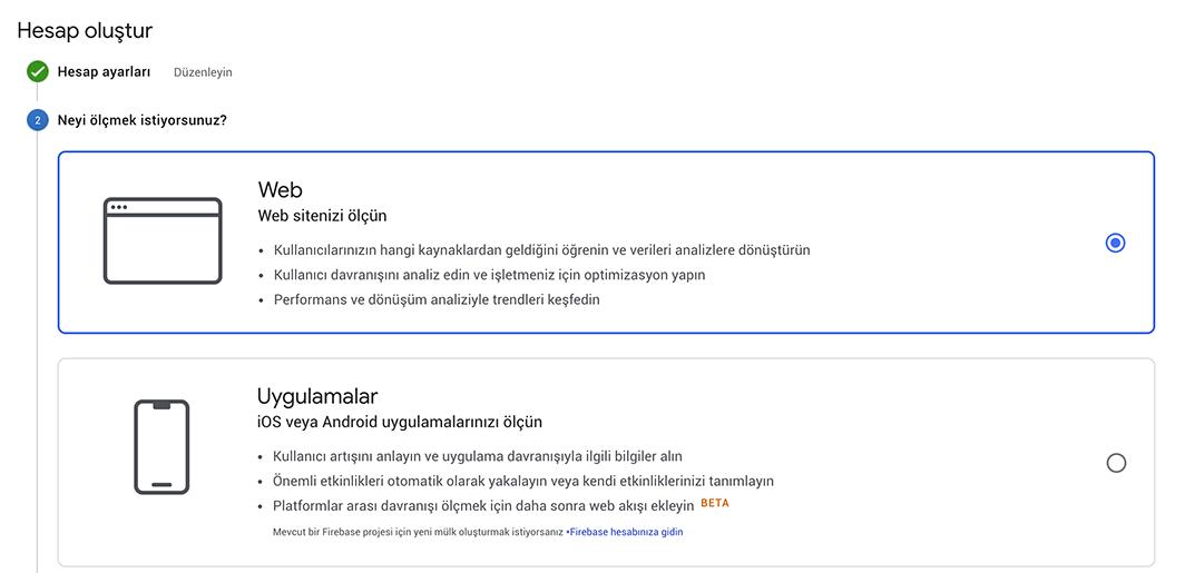 Google Analytics Uygulama Seçin
