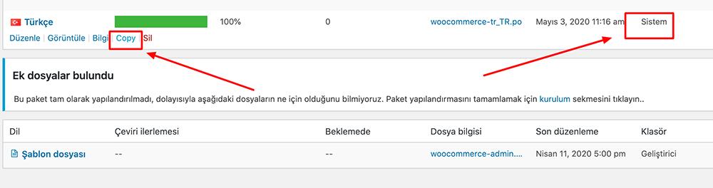 WooCommerce dil dosyası kopyalamak