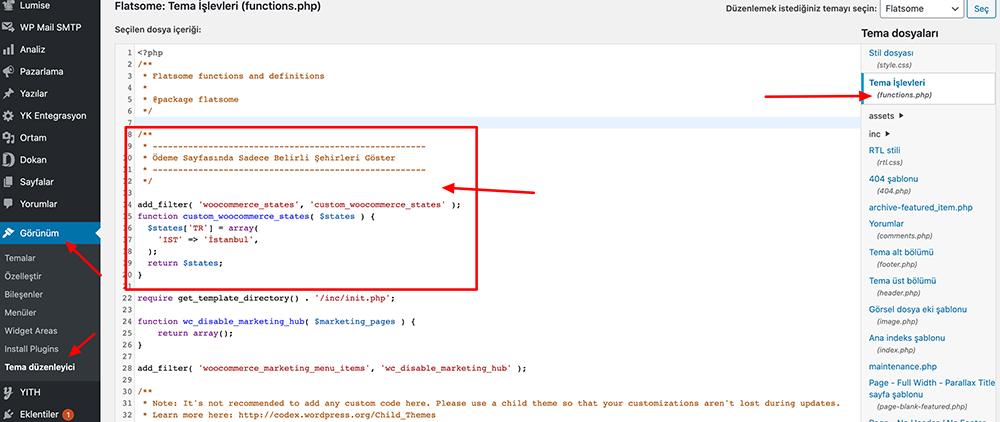 functions ile kod ekleme