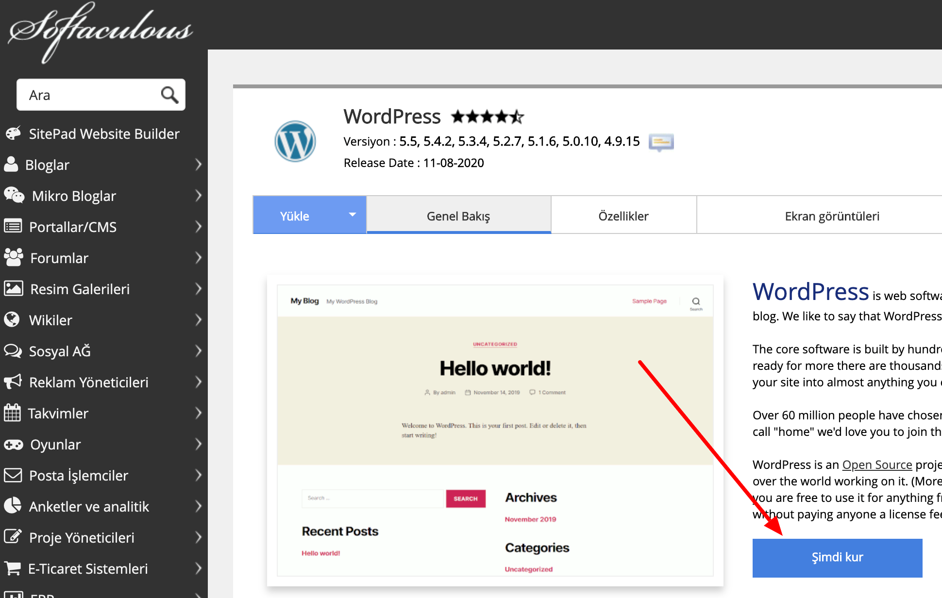 wordpress-softaculous-kurulumu