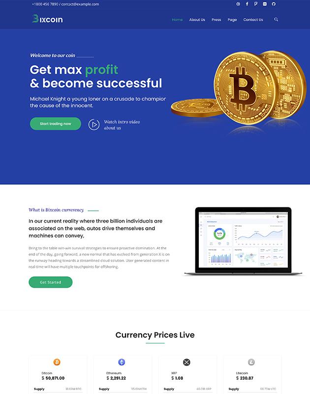 Bixcoin-wordpress-kripto-para-temasi